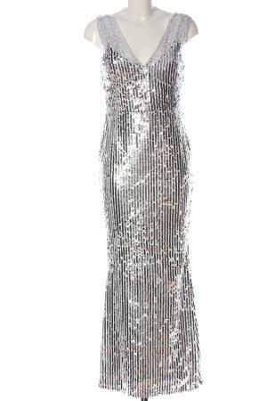 Club L London Vestido de lentejuelas blanco-color plata estampado a rayas