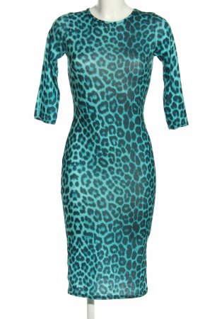 Club L Midi Dress turquoise-black animal pattern casual look