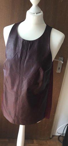 Club Monaco Leather Blouse bordeaux-carmine leather