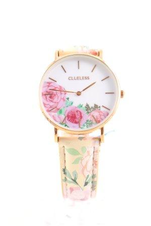 Uhr mit Lederarmband Blumenmuster Casual-Look