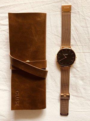 Cluse Horloge met metalen riempje roségoud-zwart