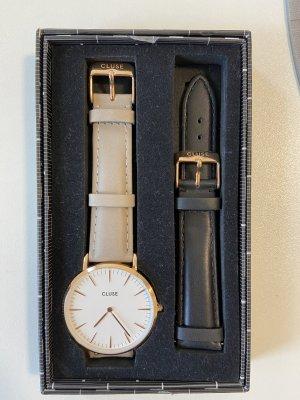 Cluse Horloge met lederen riempje veelkleurig Leer