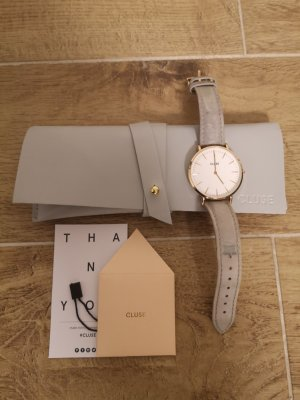 Cluse Watch With Leather Strap grey