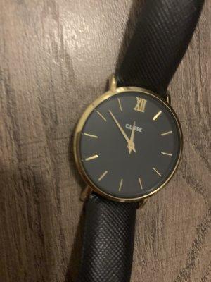 Cluse Montre avec bracelet en cuir bleu foncé-doré