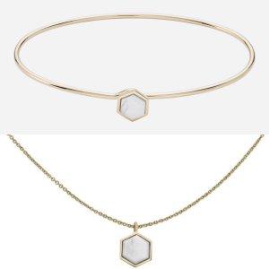 Cluse Schmuckset Armreif + Kette Hexagon Design NEU 18k goldplattiertes Messing