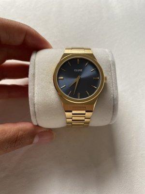 Cluse Zegarek analogowy stalowy niebieski-złoto