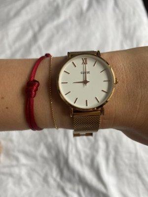 Cluse Horloge met metalen riempje camel