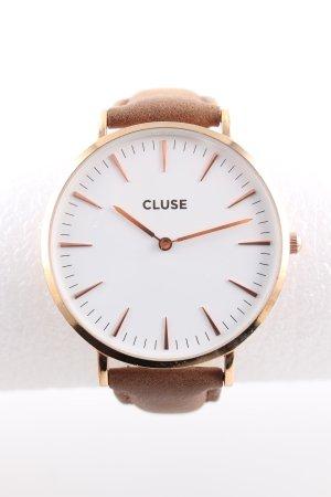 Cluse Uhr mit Lederarmband goldfarben-braun Business-Look