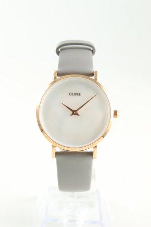Cluse Uhr mit Lederarmband hellgrau-goldfarben Business-Look