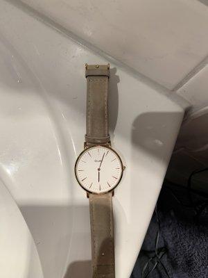 Cluse Horloge met lederen riempje rosé-donkergrijs