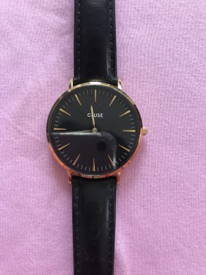 Cluse Uhr Stainless Steel schwarz Leder Armband