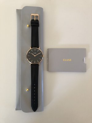 Cluse Watch With Leather Strap black-rose-gold-coloured