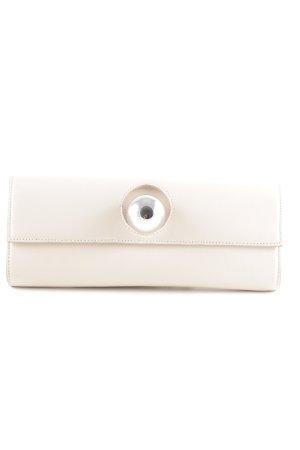"Clutch ""Andrea Plain Leather Cream/Silver"" nude"