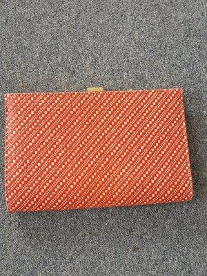 Clutch aus Bast in rot/orange