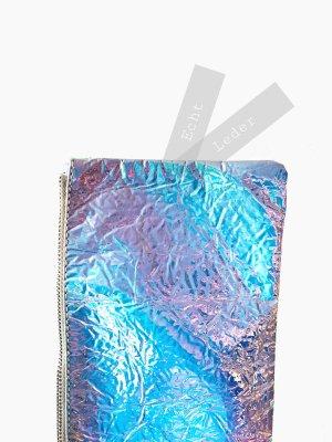 Clutch Handtasche Leder echtleder Spiegel Glanz lila blau Flieder rosa Effekt | Marc Cain | unisex