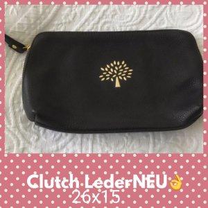 Clutch black-dark brown leather