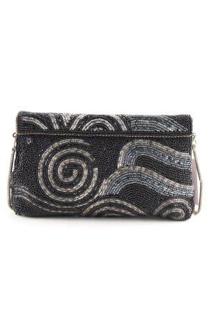 Clutch schwarz-silberfarben abstraktes Muster Casual-Look