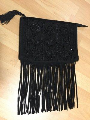 Clutch Tasche mit Fransen und Perlen Stickerei in schwarz