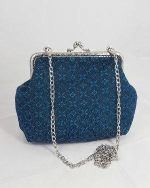 Clutch vintage saphire blau, Jugenstil, Umhängetasche Damen, Bügeltasche