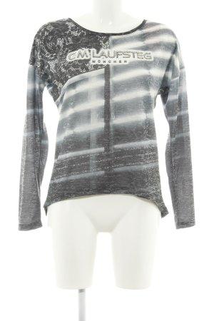Cm Laufsteg Manica lunga grigio chiaro-bianco motivo astratto stile casual