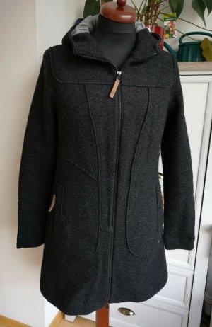 CMP Midi-Mantel aus Wollmischgewebe, Gr. 44, schwarz, Kapuze
