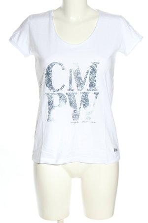 CMP T-Shirt weiß-blau Schriftzug gedruckt Casual-Look