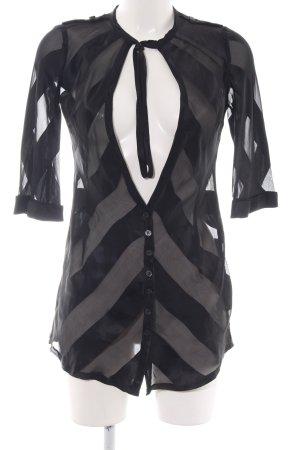 CNC Transparenz-Bluse schwarz Streifenmuster extravaganter Stil