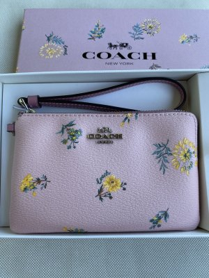 Coach Boxed Corner Zip Wristlet In Dandelion Floral Print Canvas Blossom Multi *new*