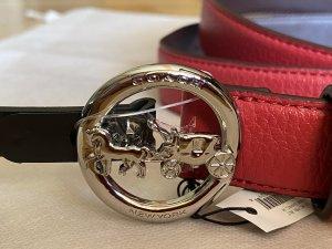 Coach Cinturón de cuero rojo Cuero
