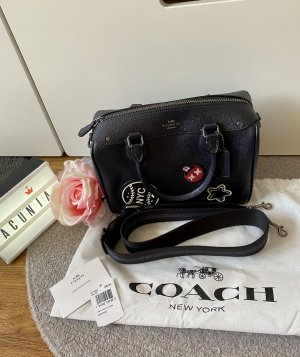 Coach New York Tasche Leder navy blau metallic