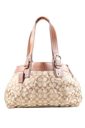Coach Shoulder Bag cream-brown allover print casual look