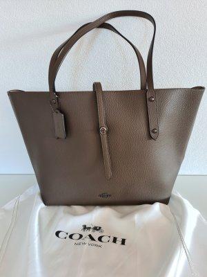 COACH Shopper, Tote-Bag, Leder, Schultertasche, taupe/schlammfarben