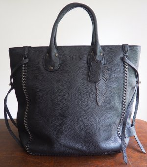 Coach Tote black-silver-colored leather