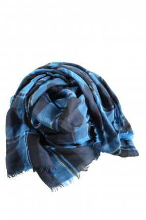 Coach Traditional Scarf blue-light grey check pattern casual look