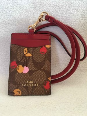 Coach Card Case Red Leather