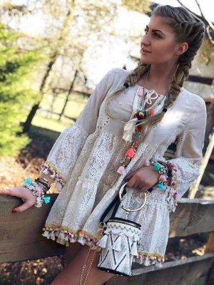 ⋙•-•-•-•➤ Coachella Tunika Folklore Bluse 100% Baumwolle Gipsy Impression Bommel Neu m. Etikett S-L ( Boutique Ware) ◉