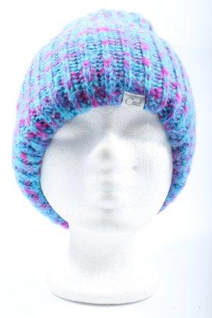 Coal Cappello all'uncinetto blu-lilla punto treccia stile casual