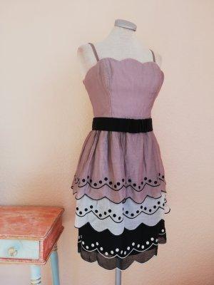 Coast Seidenkleid Bandeaukleid Kleid knielang Gr. UK 8 EUR 36 D 34 XS Sommerkleid vintage retro Waffelsaum