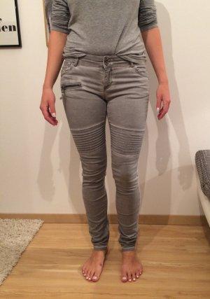 Coccara Jeans grau washed Bikerlook Damen