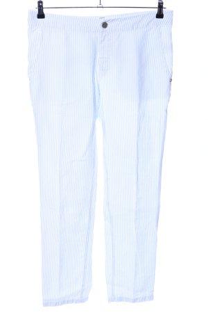 Coccara Pantalon en lin blanc-bleu motif rayé style d'affaires