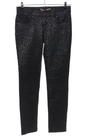 Coccara Pantalone elasticizzato nero stampa integrale stile casual