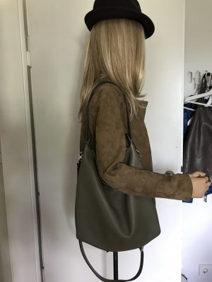 Coccinelle Pouch Bag khaki-olive green leather
