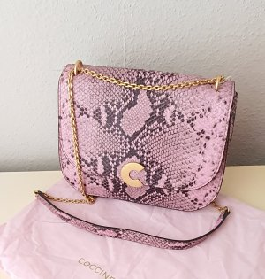 Coccinelle Echtleder Tasche Minibag Schlangemuster in Rosa-Schwarz NEU