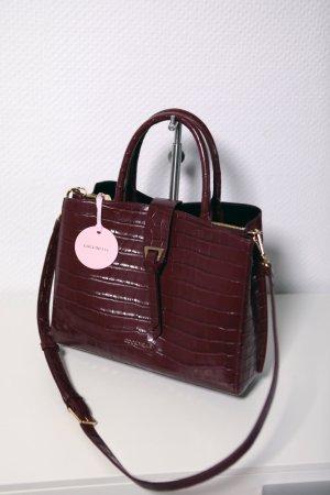 Coccinelle Leder Handtasche Shopper Alba Kroko Weinrot 29x23x14