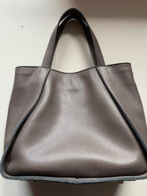 Coccinelle Tasche Henkeltasche Leder Grau Magnetverschluss Top