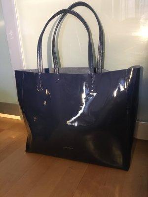 Coccinelle Tasche Shopper Schultertasche Lackleder dunkelblau neuwertig