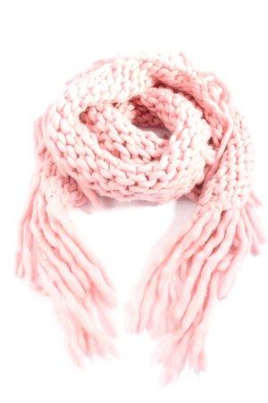 Coccinelle Bufanda de lana rosa punto trenzado look casual