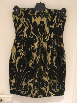 H&M Bustier Dress black-gold-colored wool