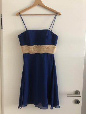 Cocktail Kleid knielang blau-beige Gr. (34-)36