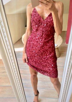 Cocktail Kleid Pailletten #Bordeaux Rot wie neu !